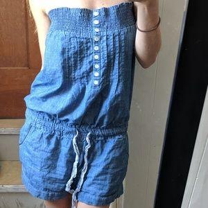 Pants - Jean Shorts Strapless Romper Front Botton